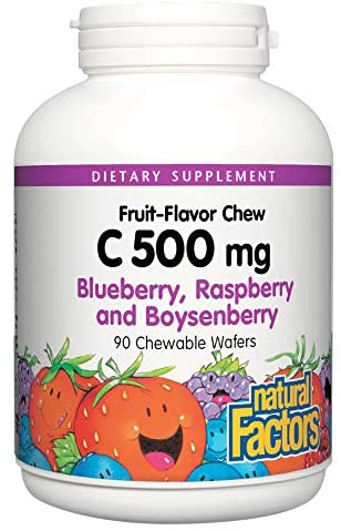Natural Factors C 500 Mg Blueberry, Raspberry and Boysenberry 90 Chewable Wafers