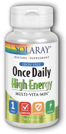 Solaray Once Daily High Energy Iron Free 60 VegCaps
