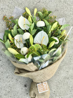 The little market bunch white funeral sympathy Bouquet