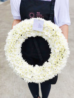 The little market bunch Funeral Sympathy White / Yellow Wreath