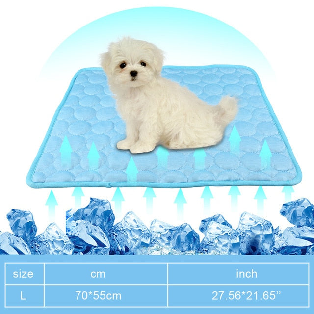 Summer Dog Cooling Mat Sky Blue Ice Pad Cool Pet Beds Sofa Cushion Blanket Fit All Pets Breathable Cooling Mat S/M/L/XL Size