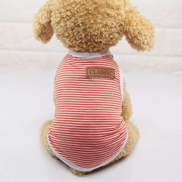 Classic Stripe Dog Shirt Cheap Dog Clothes For Small Dogs Summer Chihuahua Tshirt Cute Puppy Vest Yorkshire Terrier Pet Clothes