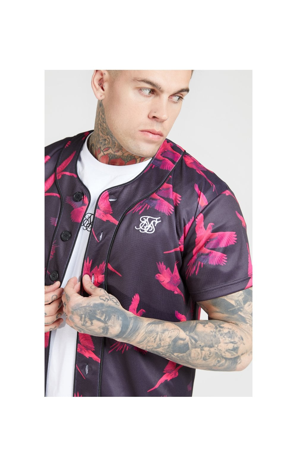 SikSilk Original Baseball Jersey – Black & Pink