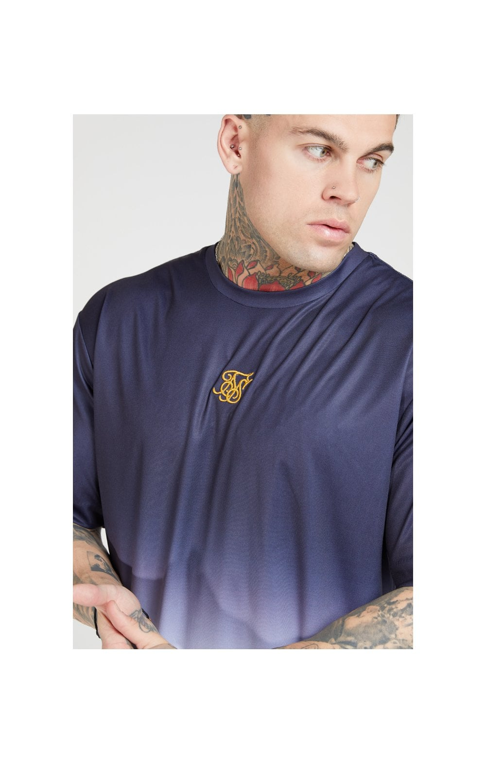SikSilk S/S Essential Tee - Navy & White (1)