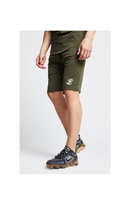 Illusive London Shorts Jersey mit Zierband - Khaki