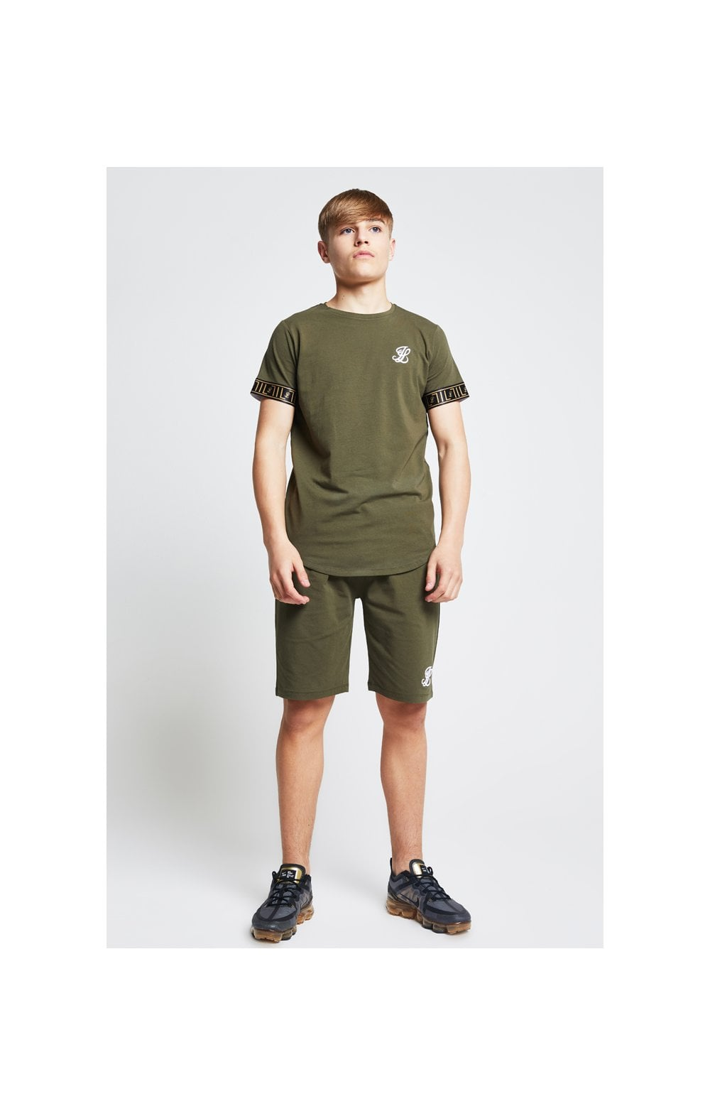 Illusive London Shorts Jersey mit Zierband - Khaki (2)