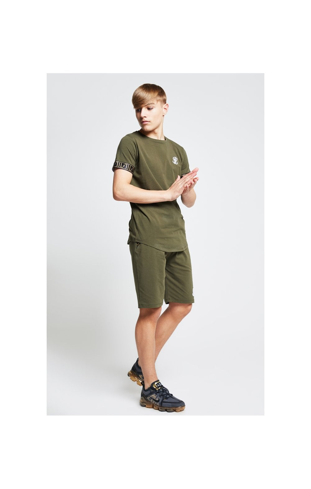 Illusive London Shorts Jersey mit Zierband - Khaki (4)