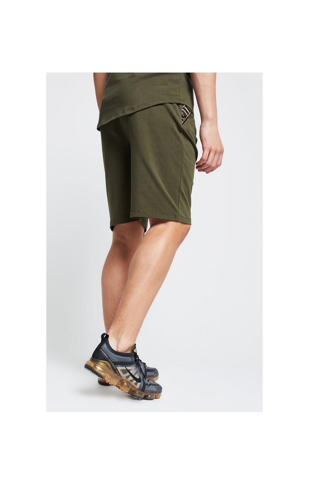 Illusive London Shorts Jersey mit Zierband - Khaki (6)