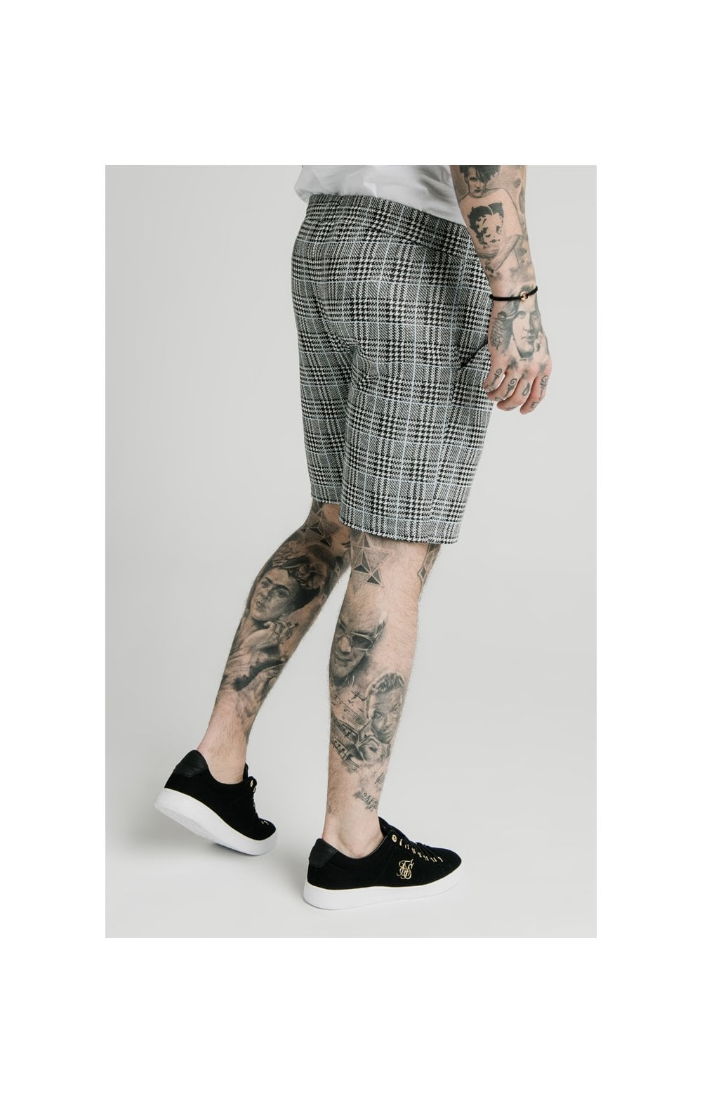SikSilk Pleated Smart Shorts – Grey Dogtooth (3)