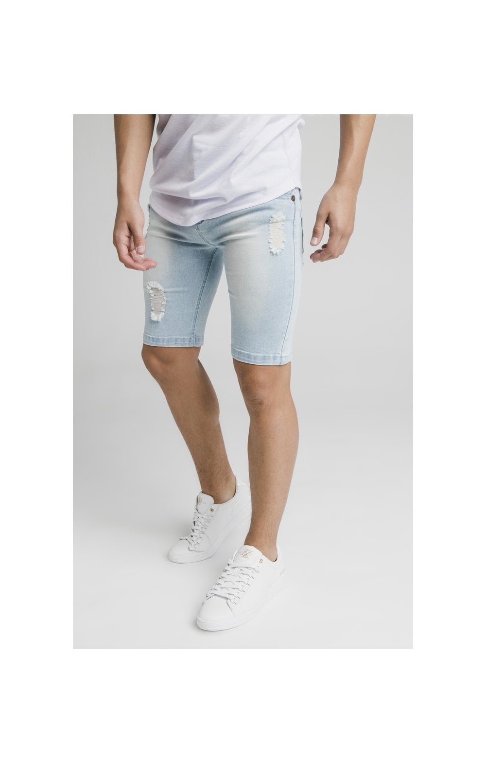 Illusive London Distressed Denim Shorts - Light Blue