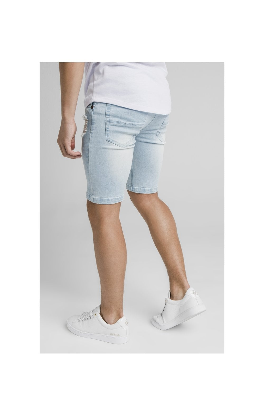 Illusive London Distressed Denim Shorts - Light Blue (2)