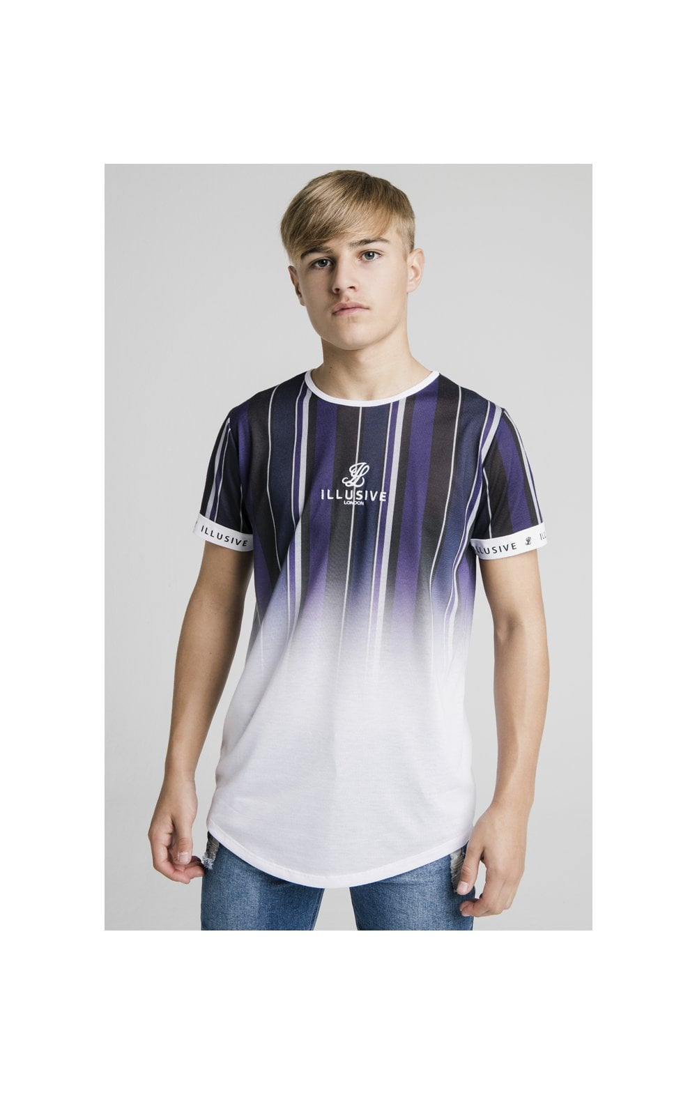 Laden Sie das Bild in den Galerie-Viewer, Illusive London Fade Stripe Tech Tee - Navy, Purple, Grey & White (1)