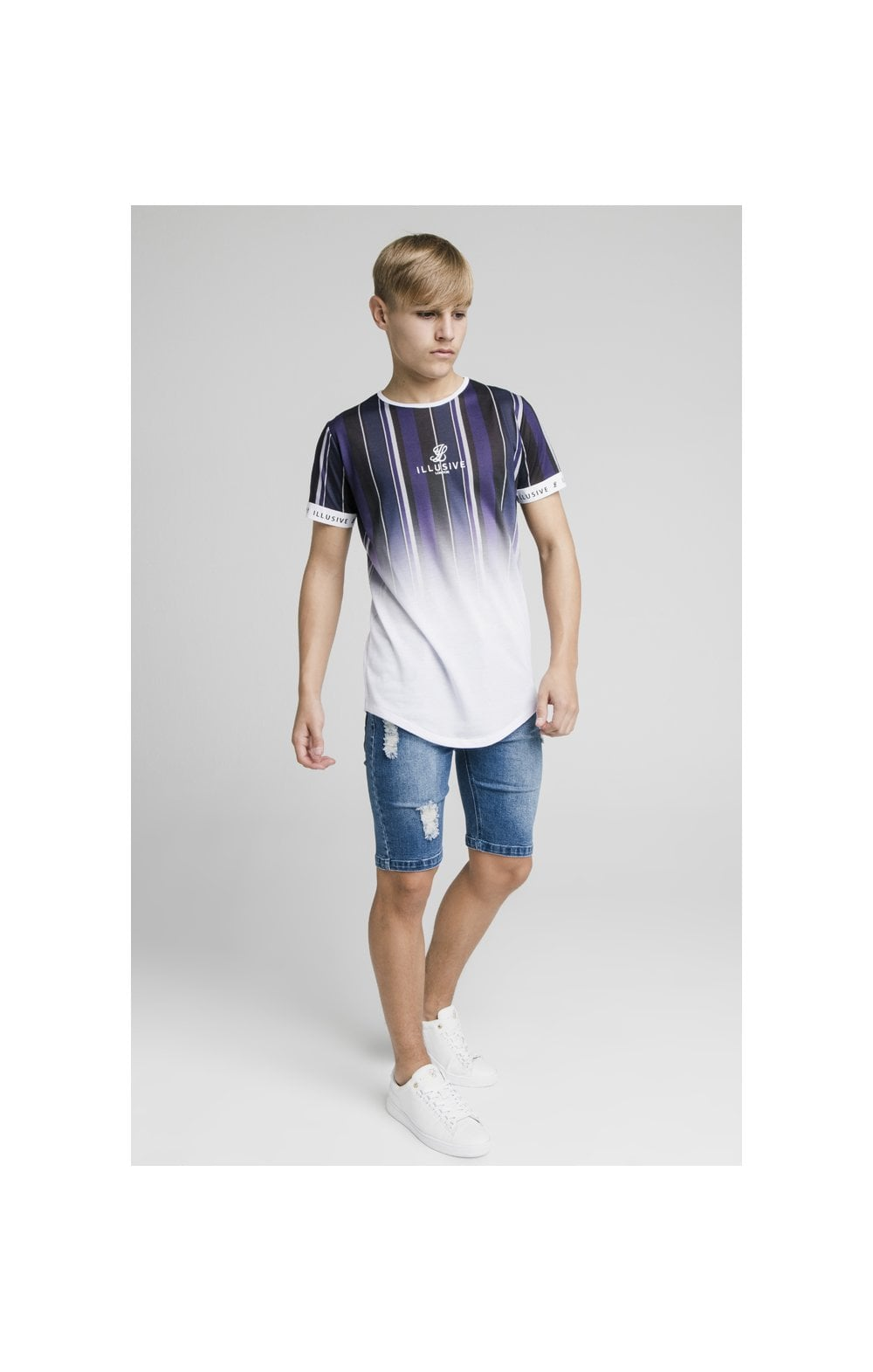 Laden Sie das Bild in den Galerie-Viewer, Illusive London Fade Stripe Tech Tee - Navy, Purple, Grey & White (2)