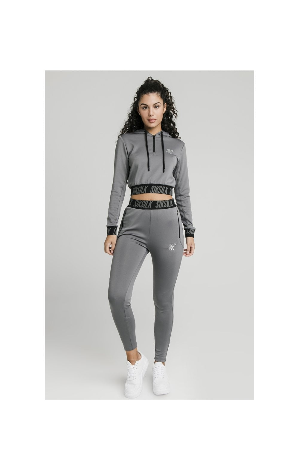 SikSilk Cropped Gym Track Top - Grey (3)