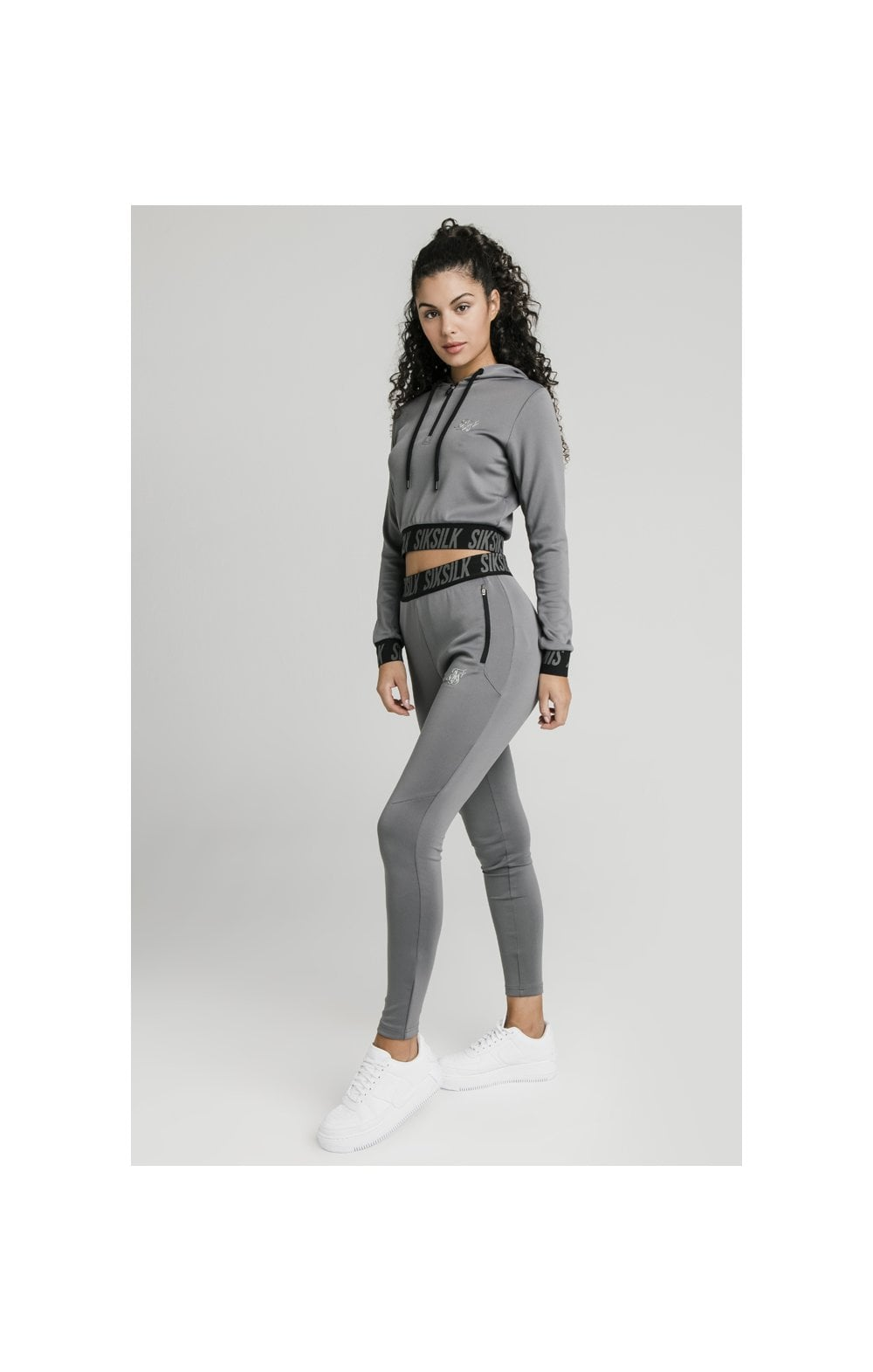 SikSilk Cropped Gym Track Top - Grey (4)
