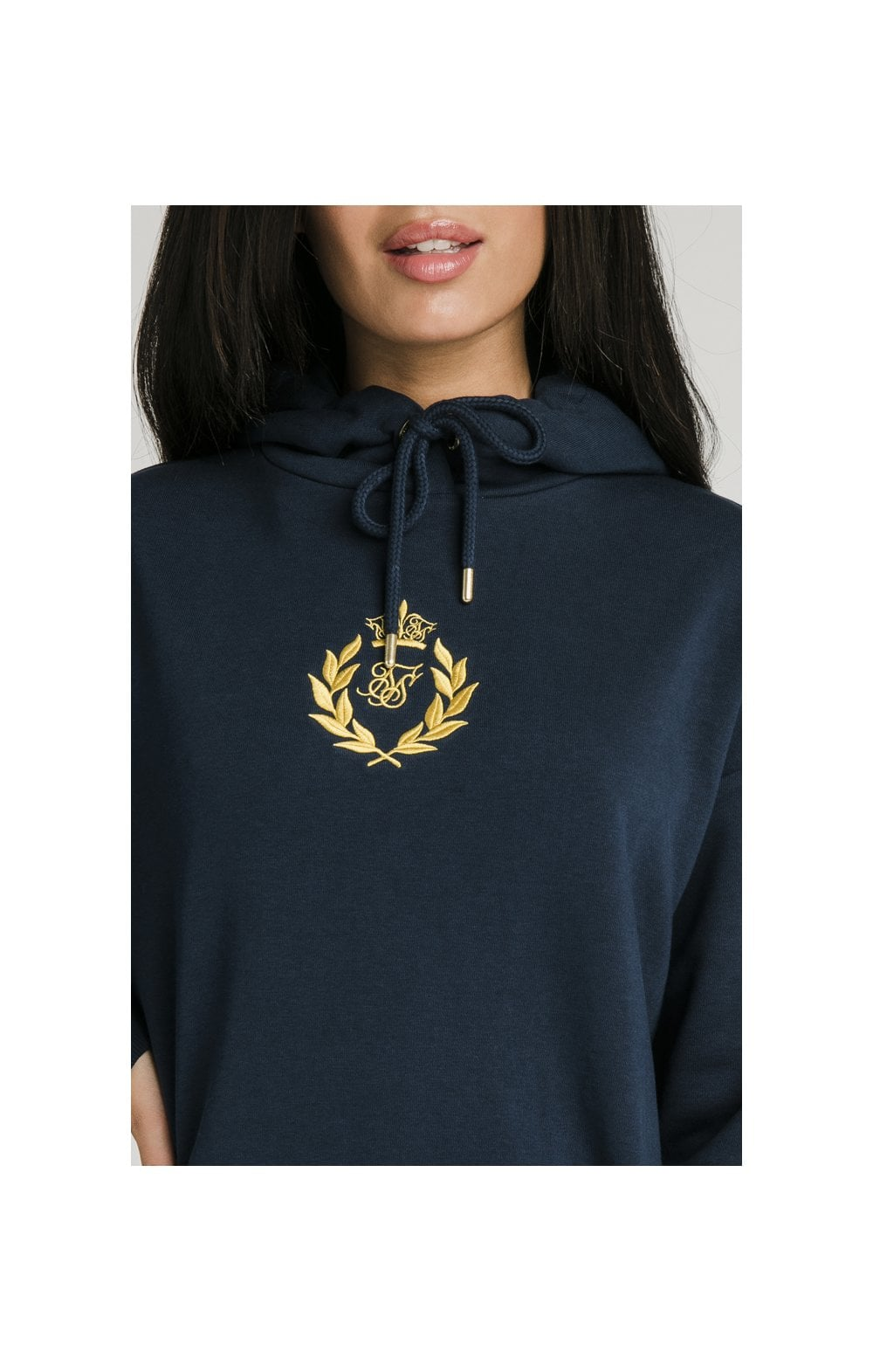 SikSilk Embroidered Oversize Hoodie - Navy (1)