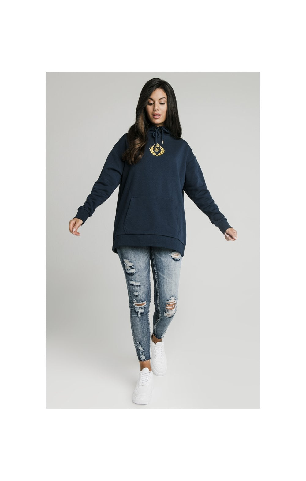 SikSilk Embroidered Oversize Hoodie - Navy (4)