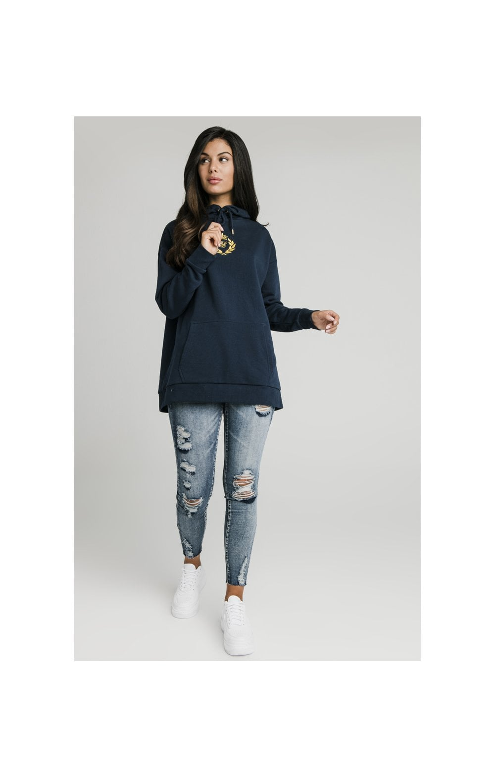 SikSilk Embroidered Oversize Hoodie - Navy (5)