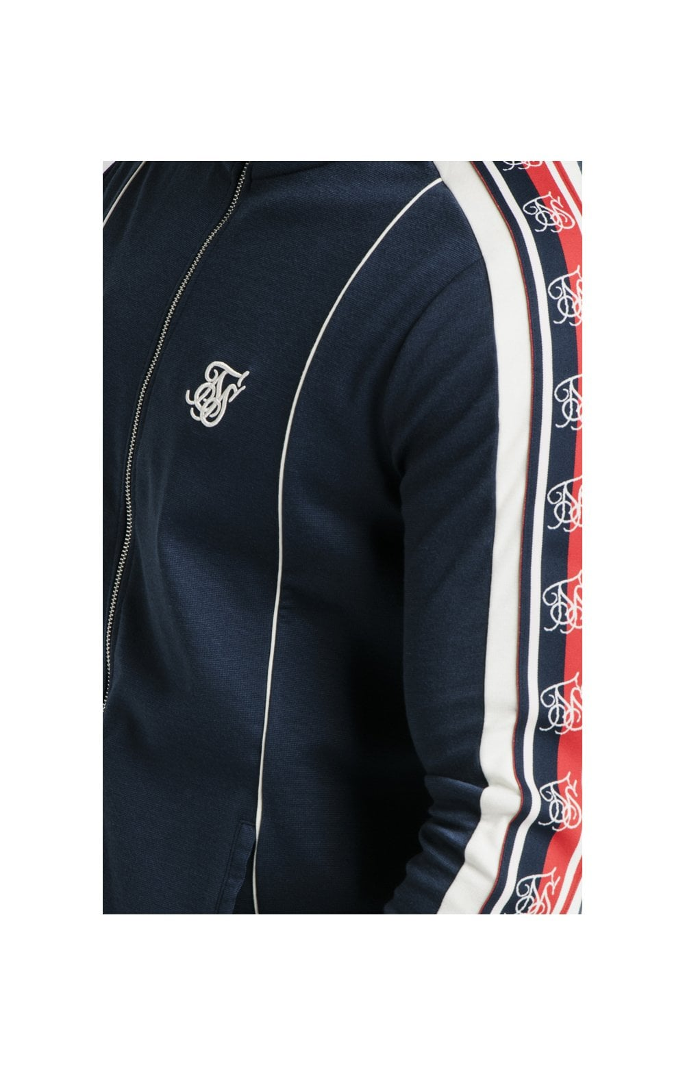 SikSilk Retro Funnel Neck Tape Zip Through Track Top - Navy (1)