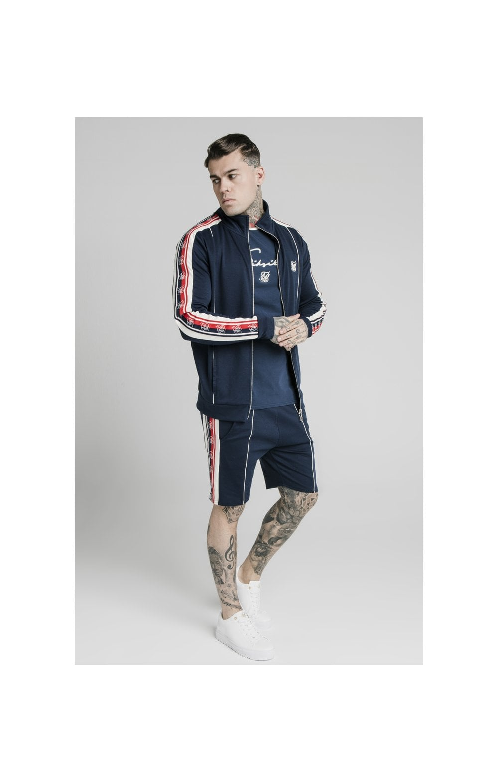 SikSilk Retro Funnel Neck Tape Zip Through Track Top - Navy (2)