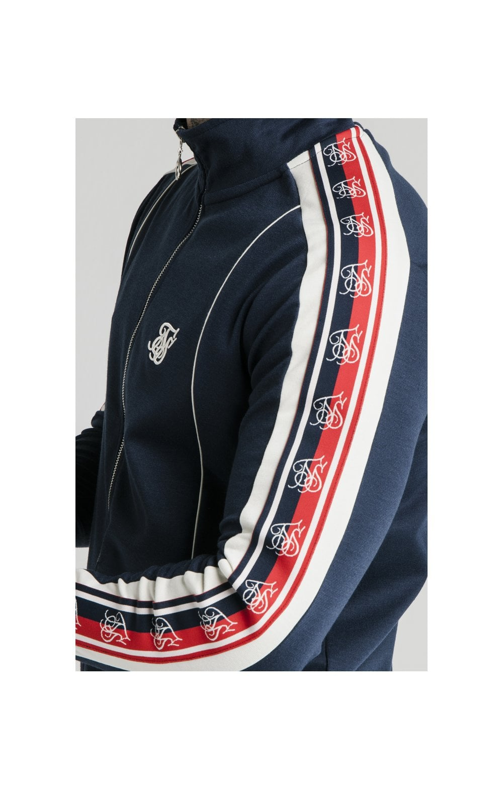 SikSilk Retro Funnel Neck Tape Zip Through Track Top - Navy (3)