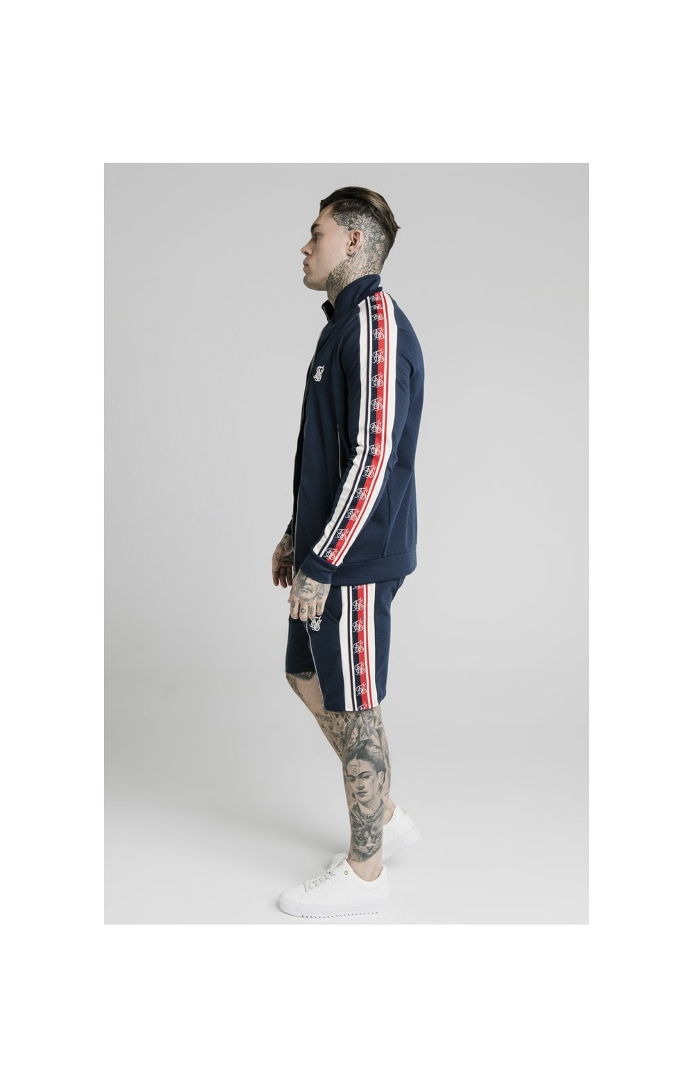 SikSilk Retro Funnel Neck Tape Zip Through Track Top - Navy (4)