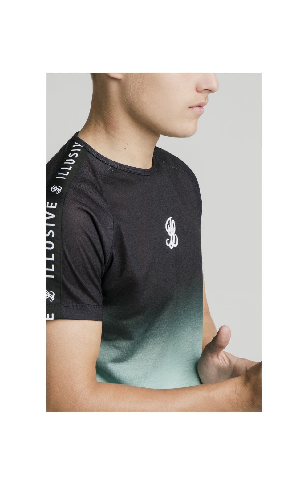 Illusive London Tape Fade Logo Tee - Black & Mint (2)