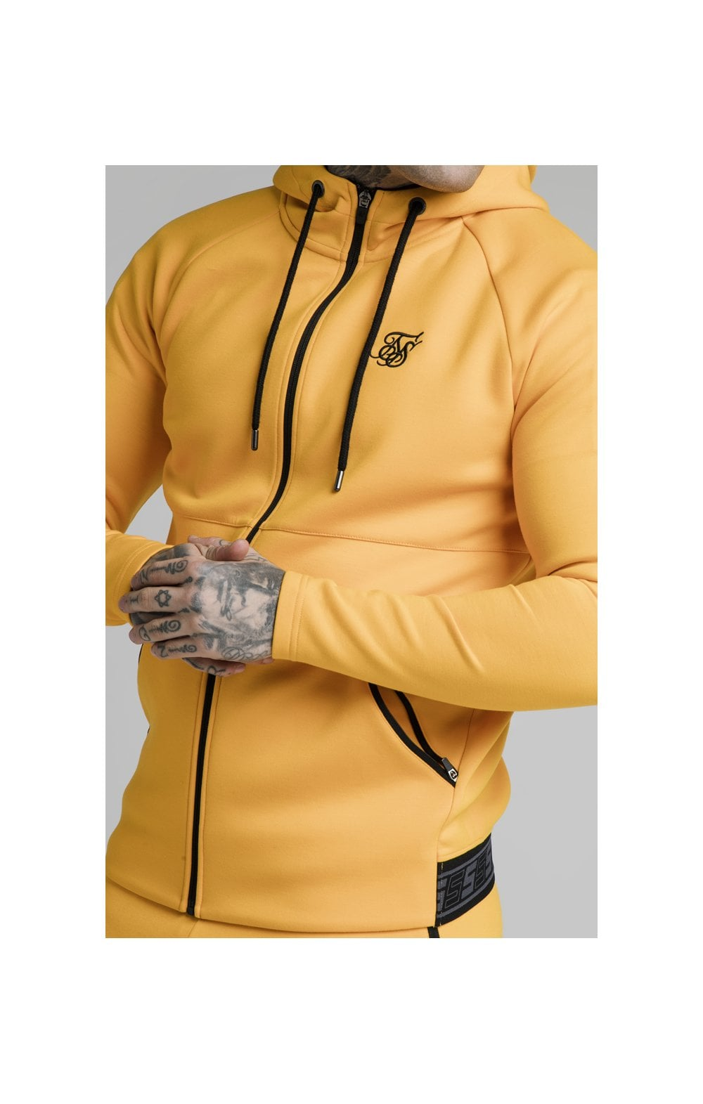 SikSilk Exhibit Zip Through Hoodie - Yellow