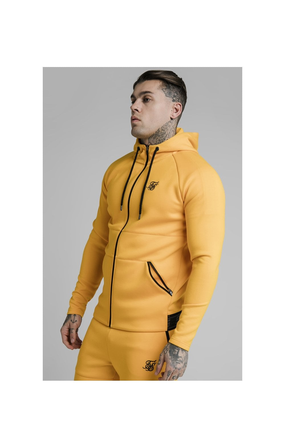 SikSilk Exhibit Zip Through Hoodie - Yellow (1)