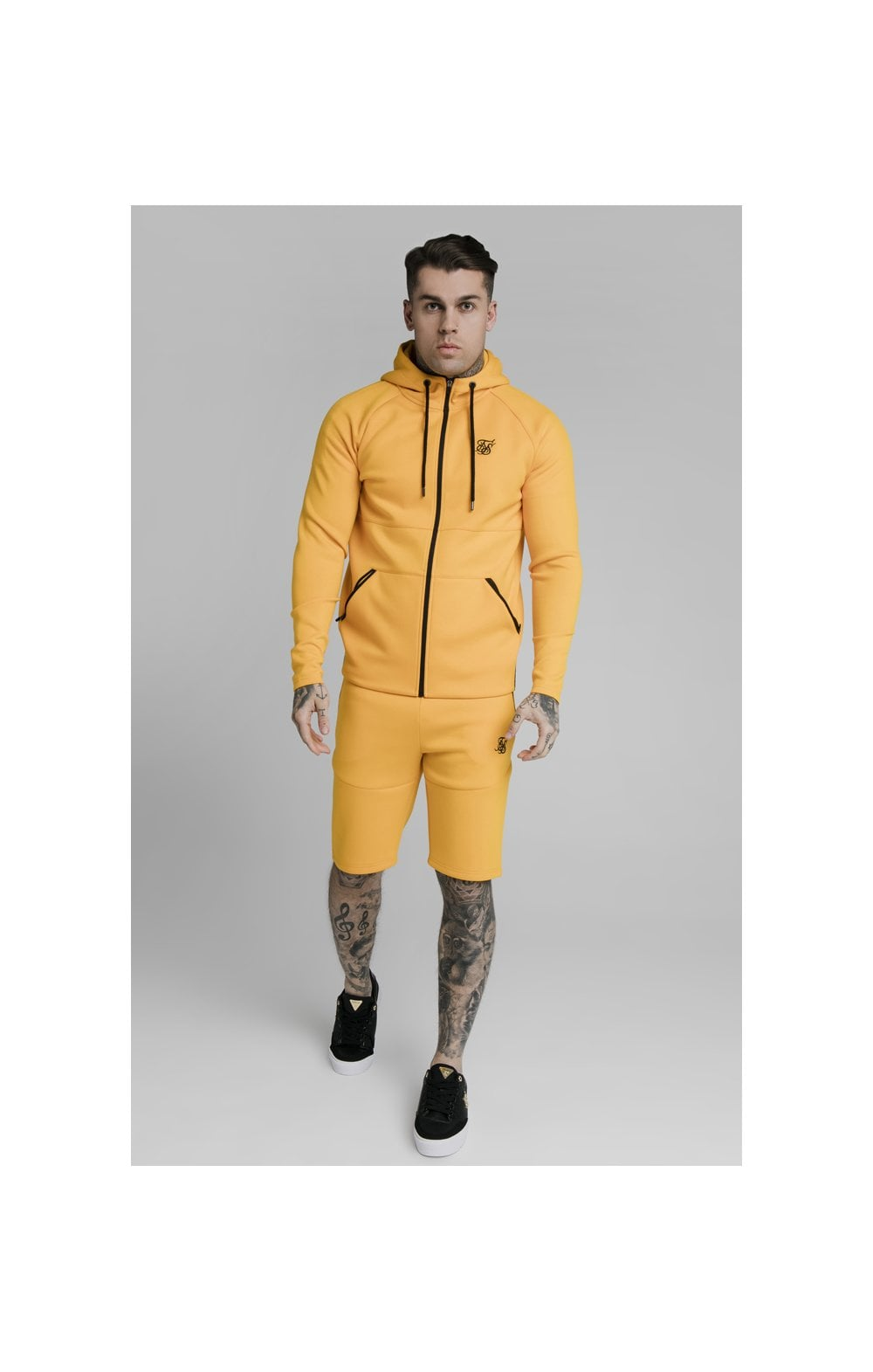 SikSilk Exhibit Zip Through Hoodie - Yellow (4)
