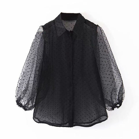 Mesh Long Sleeve Button-up
