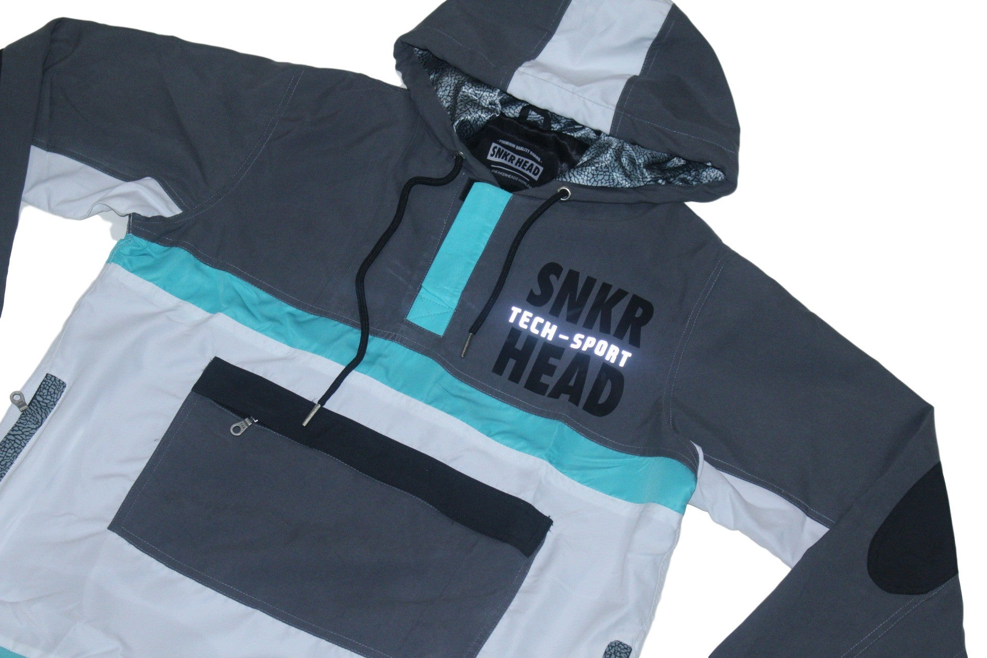 SNKR HEAD Tech-Sport International Windbreaker Jacket (grey, blue, white)