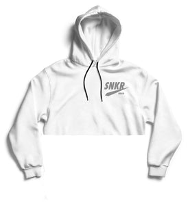 SNKR HEAD 3M Reflective Crop Hoodie (White)