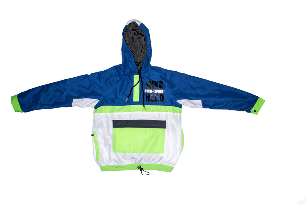 SNKR HEAD Tech-Sport International Windbreaker Jacket (Blue , Neon Green)