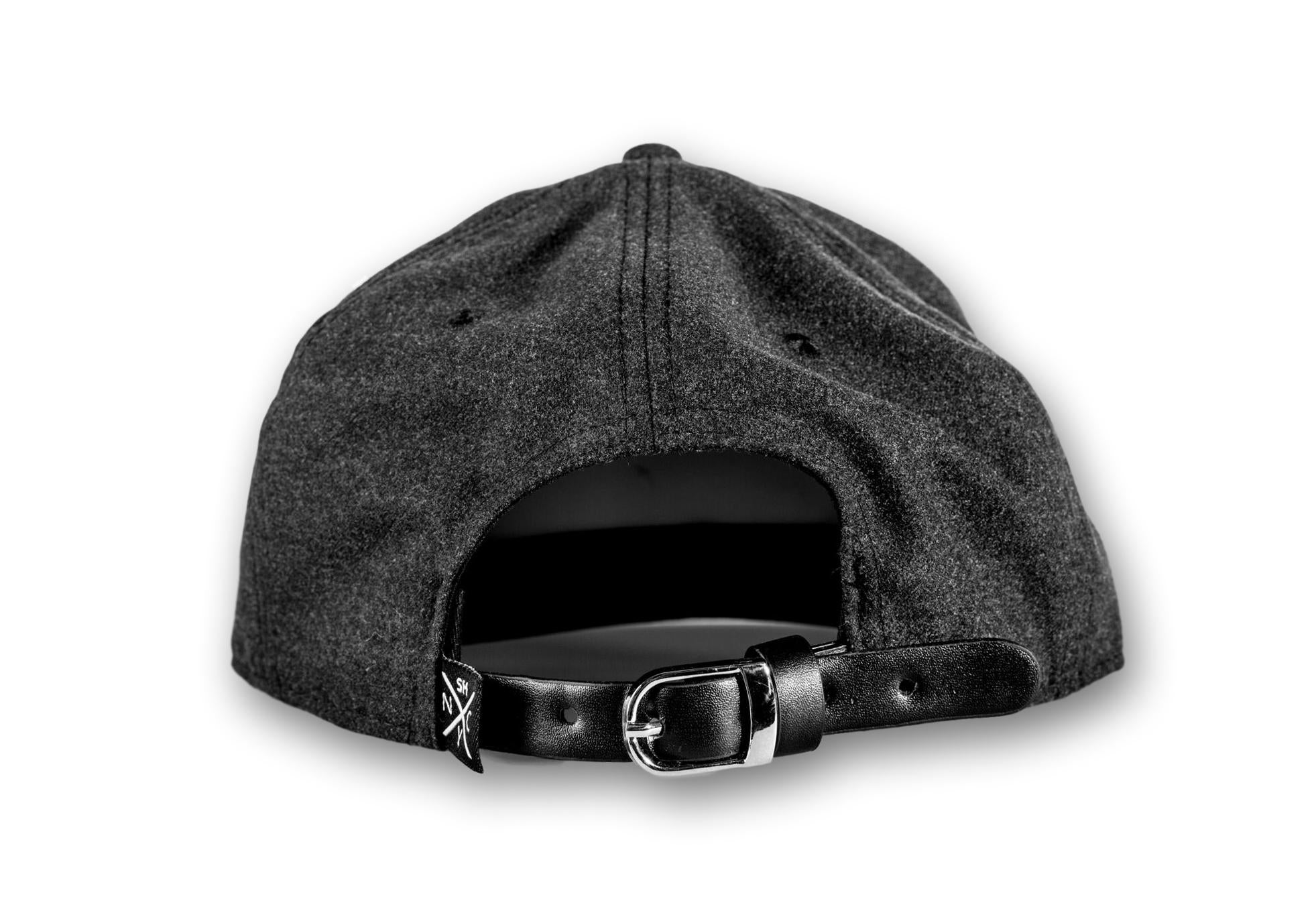 """SH"" Grey Wool/Leather Brim Logo Strapback Hat"