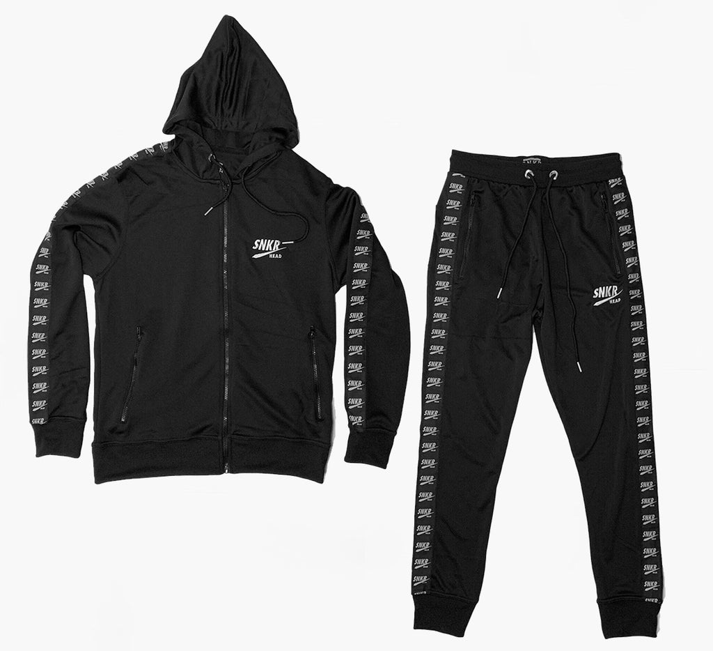 SNKR HEAD Hoodie & Jogger Logo Taped Black Set