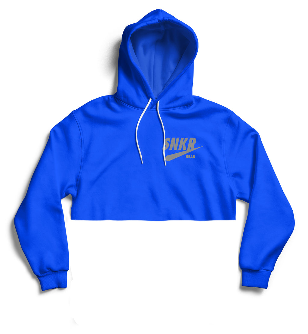 SNKR HEAD Reflective Logo Blue Crop Hoodie
