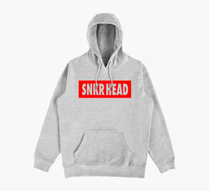 SNKR HEAD Box Logo Grey Hoodie (red)