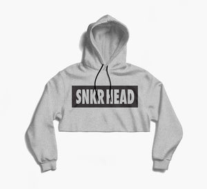 SNKR HEAD Box Logo Grey Crop Hoodie (white)