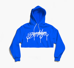 Brooklyn DRIP Blue Crop Hoodie (white)