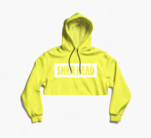 SNKR HEAD Box Logo Cream Yellow Crop Hoodie (white)