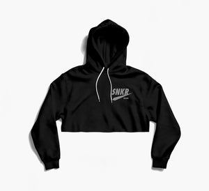 SNKR HEAD Reflective Logo Black Crop Hoodie