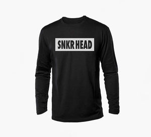 SNKR HEAD Box Logo Black Long Sleeve Shirt (white)