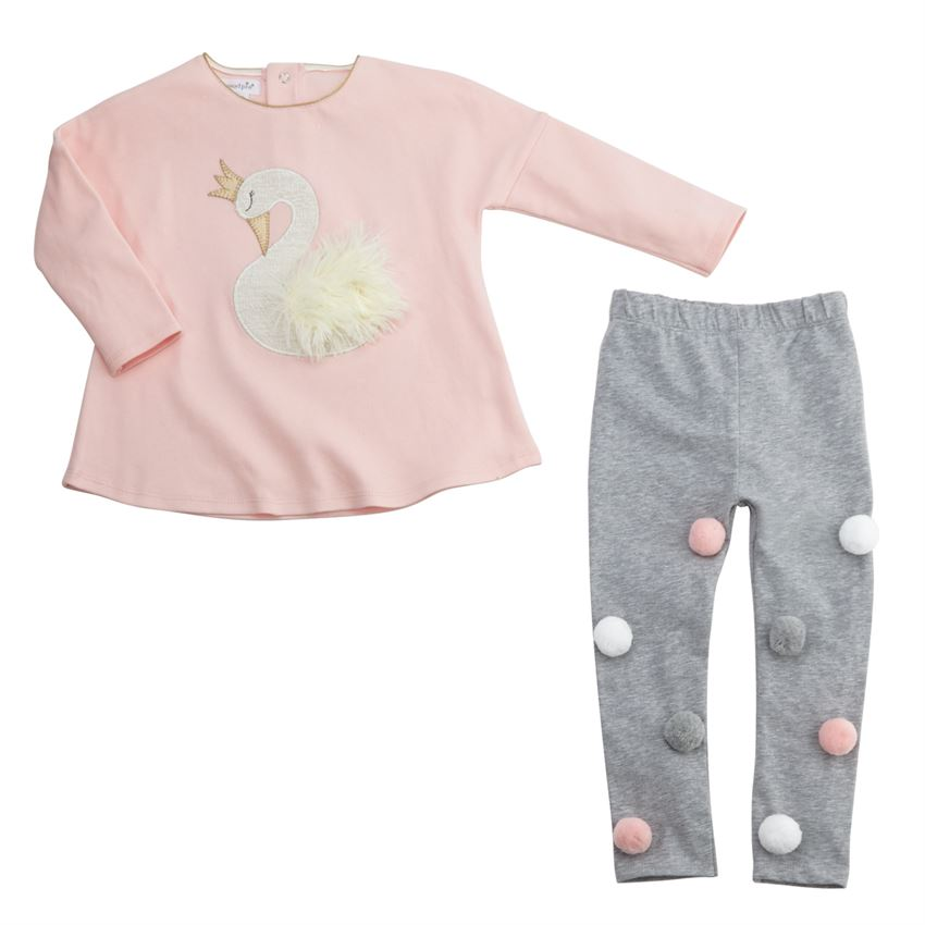Mud Pie Swan Long Sleeve Tunic & Legging Two-Piece Set