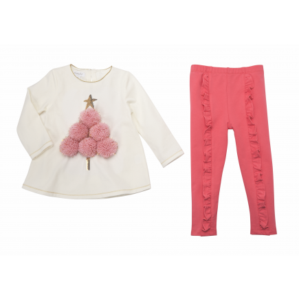 Mud Pie Pom-Pom Tree Tunic and Legging Set