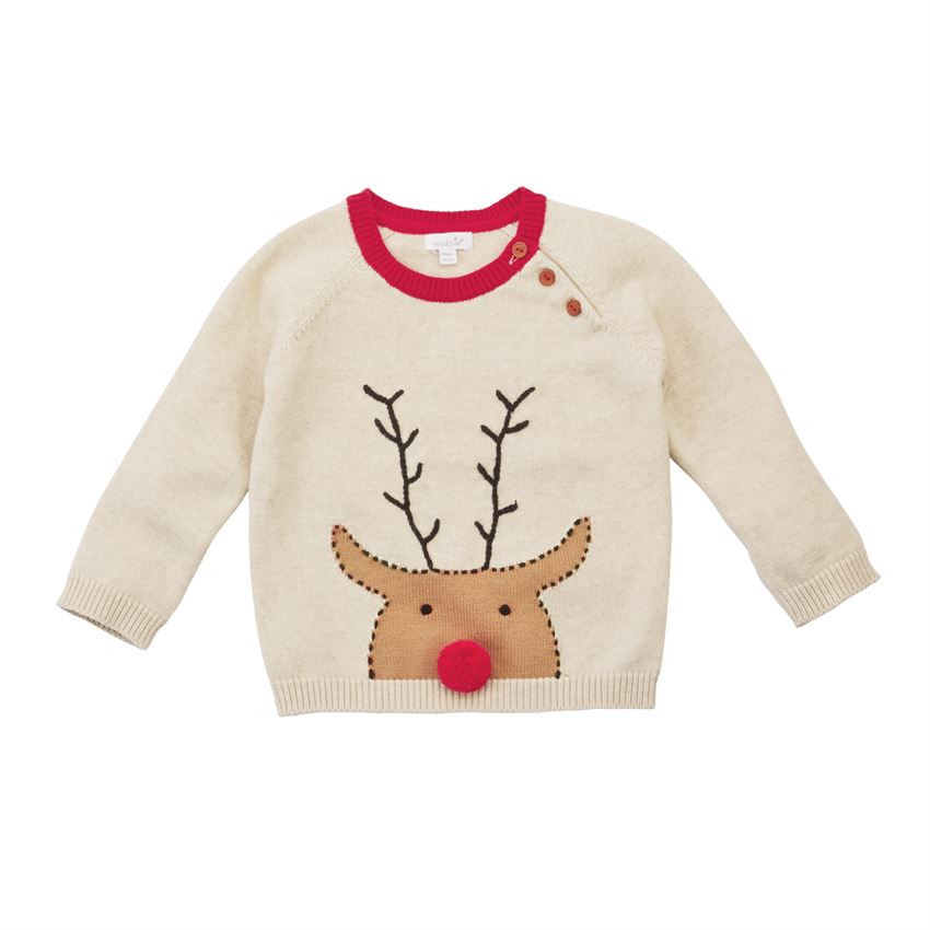 Mud Pie Boys Oatmeal Reindeer Pom Toddler Sweater