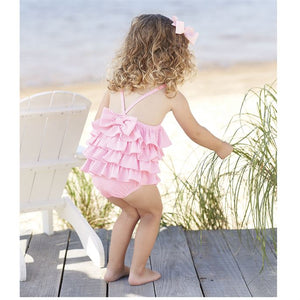 Mud Pie - Pink Seersucker Ruffle Swimsuit