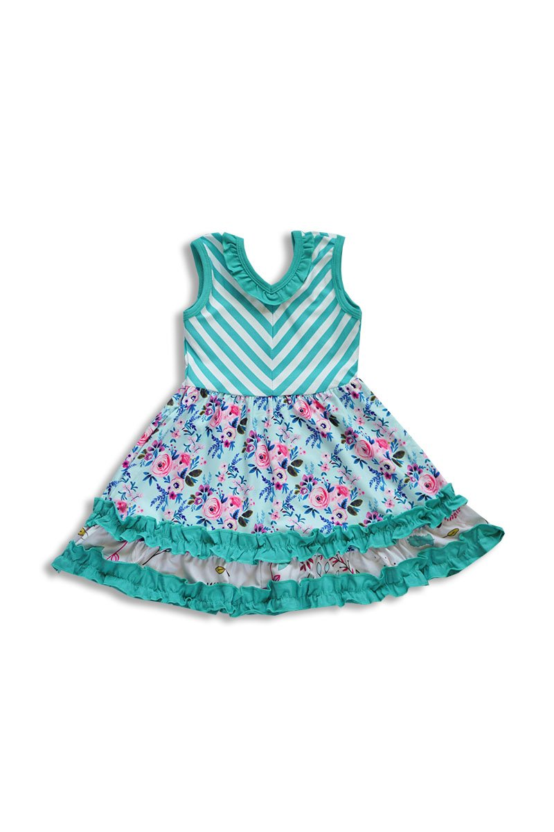Mint Flower Print Ruffle Dress