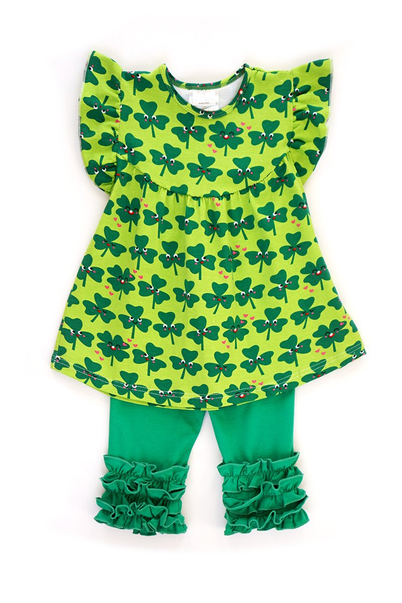 San Patrick Clover Shirt and Capri Pants Set