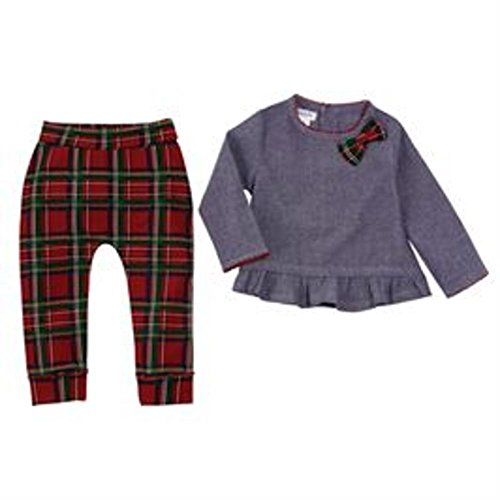 Mud Pie Infant Tartan Plaid and Ruffle Chambray Two-Piece Playwear Set